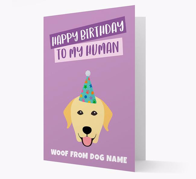 Personalised 'Happy Birthday To My Human' Card with Labrador Icon