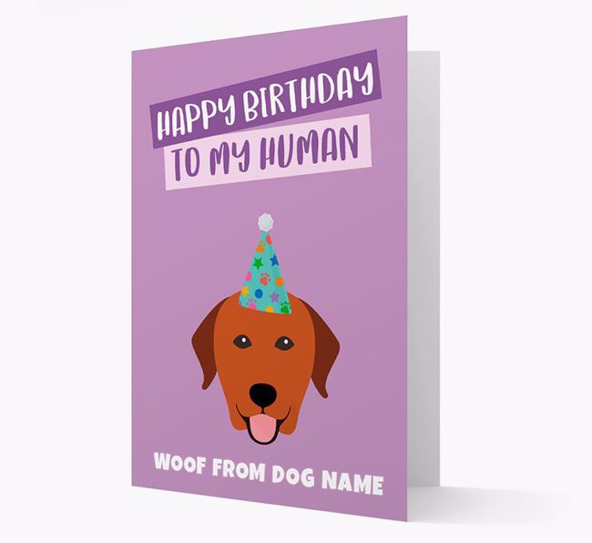 Personalized 'Happy Birthday To My Human' Card with Labrador Icon