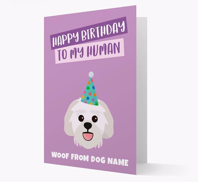 Personalized 'Happy Birthday To My Human' Card with Lachon Icon