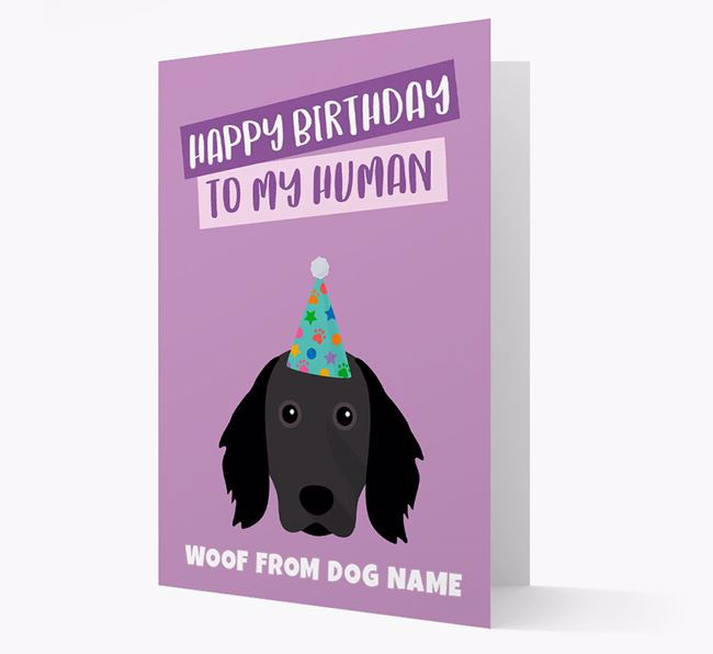 Personalized 'Happy Birthday To My Human' Card with Munsterlander Icon