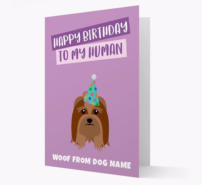 Personalized 'Happy Birthday To My Human' Card with Lhasa Apso Icon