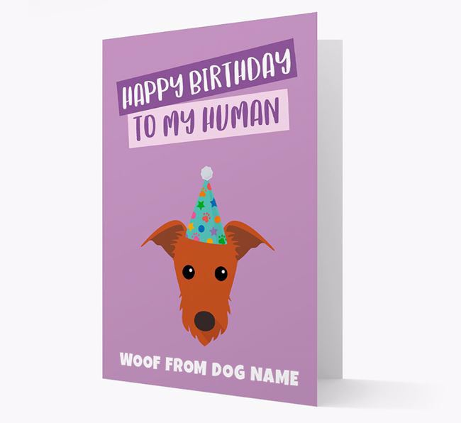 Personalized 'Happy Birthday To My Human' Card with Lurcher Icon