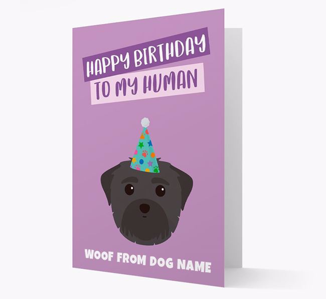 Personalized 'Happy Birthday To My Human' Card with Maltese Icon
