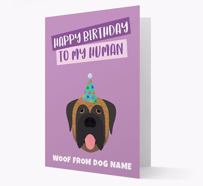 Personalized 'Happy Birthday To My Human' Card with Mastiff Icon
