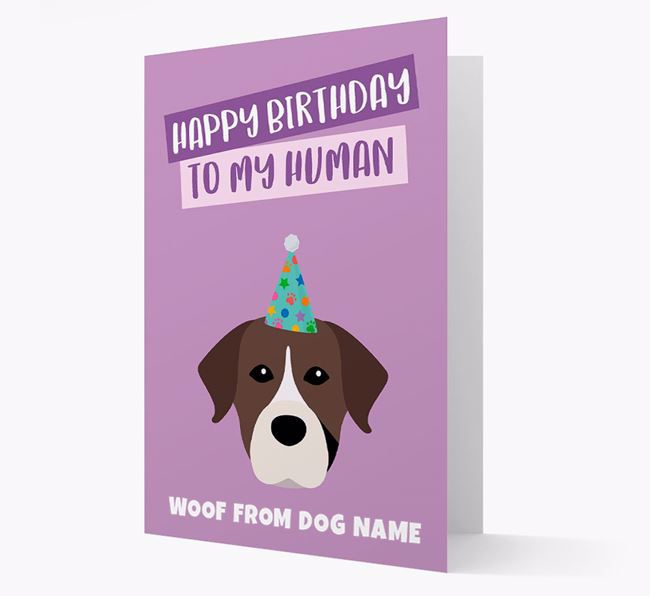 Personalized 'Happy Birthday To My Human' Card with Dog Icon
