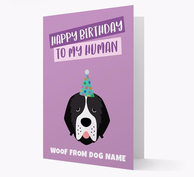 Personalized 'Happy Birthday To My Human' Card with Newfoundland Icon