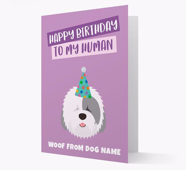 Personalized 'Happy Birthday To My Human' Card with Sheepdog Icon