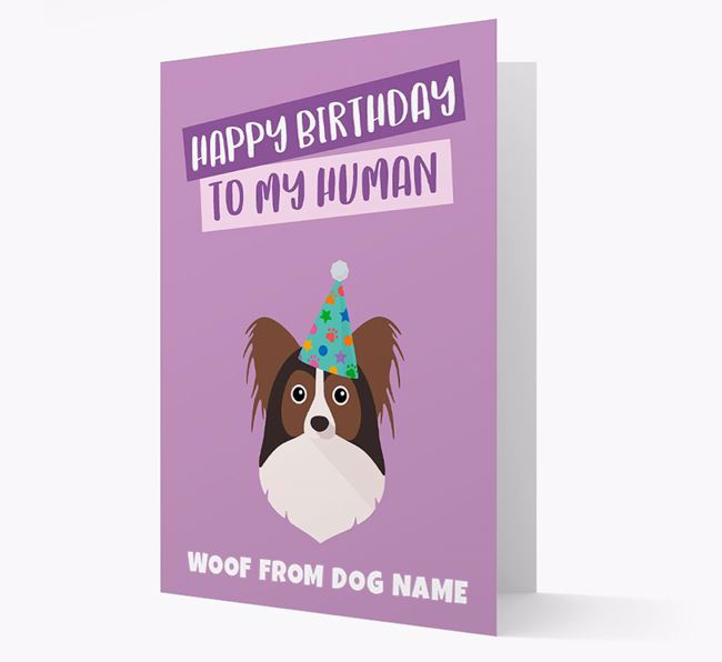 Personalized 'Happy Birthday To My Human' Card with Papillon Icon