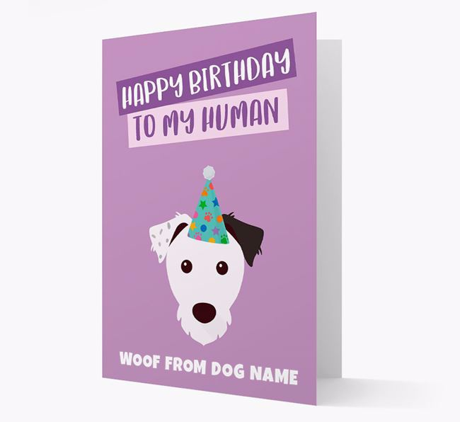 Personalized 'Happy Birthday To My Human' Card with Parson Russell Icon