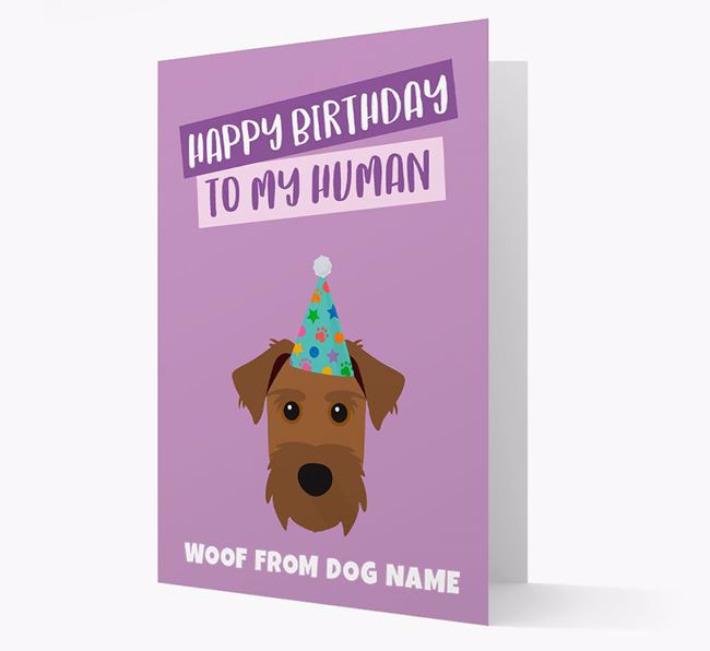 Personalized 'Happy Birthday To My Human' Card with Patterdale Icon