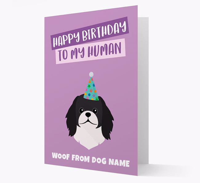 Personalized 'Happy Birthday To My Human' Card with Pekingese Icon