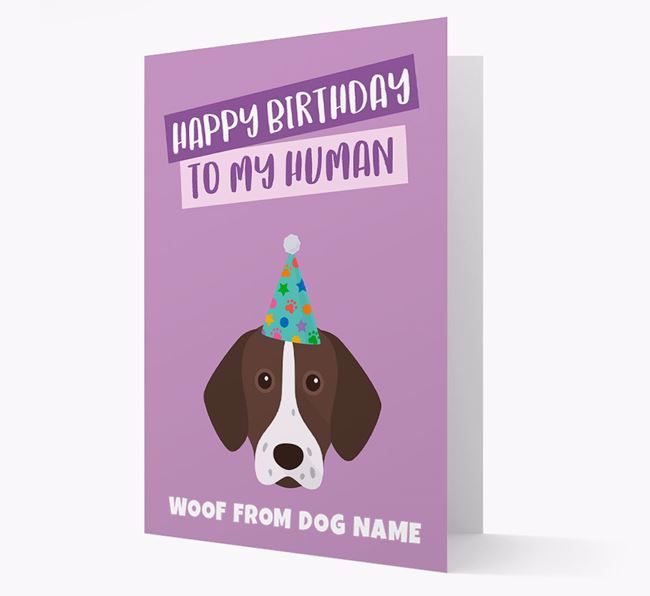 Personalized 'Happy Birthday To My Human' Card with Pointer Icon