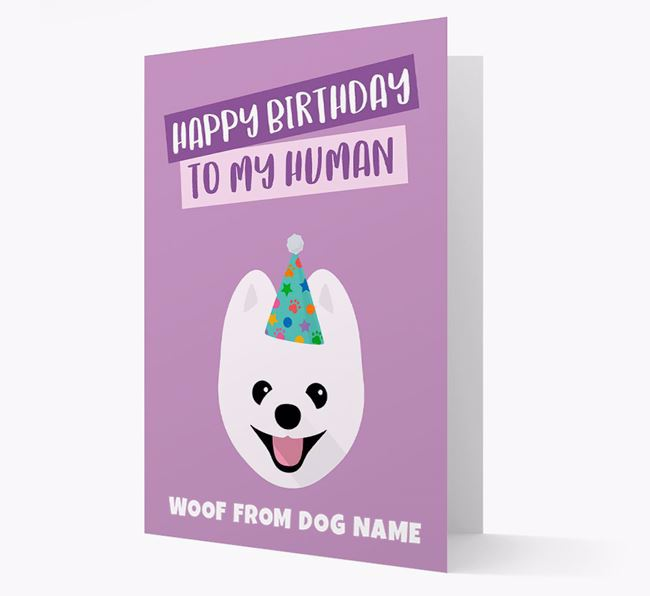 Personalized 'Happy Birthday To My Human' Card with Pomeranian Icon