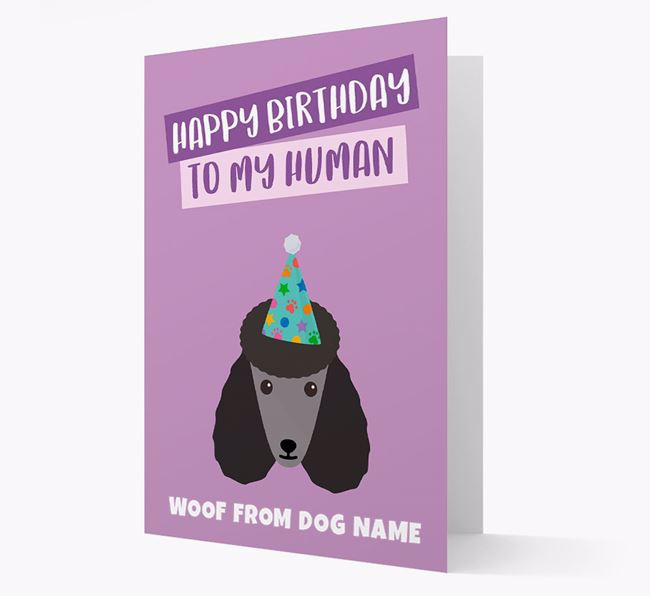 Personalised 'Happy Birthday To My Human' Card with Poodle Icon