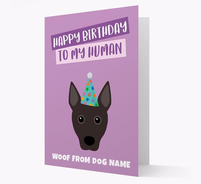 Personalized 'Happy Birthday To My Human' Card with Podengo Icon