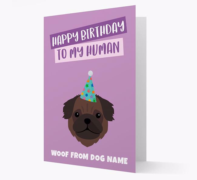 Personalised 'Happy Birthday To My Human' Card with Pug Icon