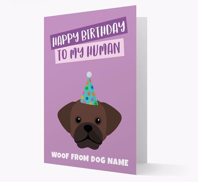 Personalized 'Happy Birthday To My Human' Card with Puggle Icon