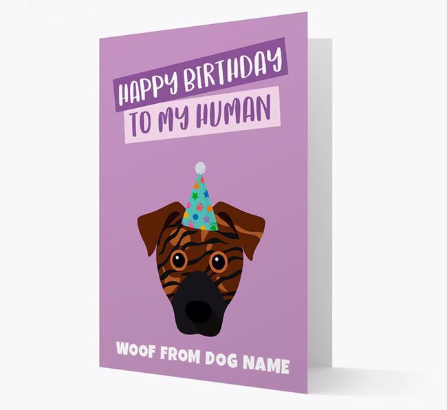 Personalized 'Happy Birthday To My Human' Card with Rescue Dog Icon