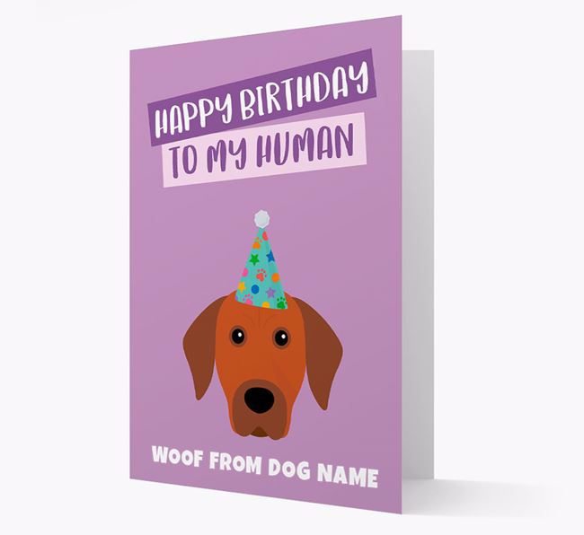 Personalized 'Happy Birthday To My Human' Card with Rhodesian Ridgeback Icon