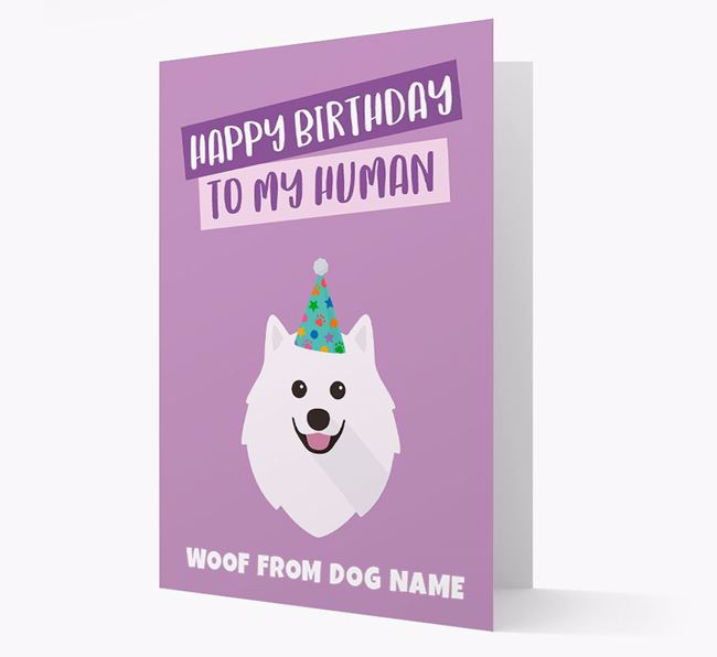Personalized 'Happy Birthday To My Human' Card with Samoyed Icon