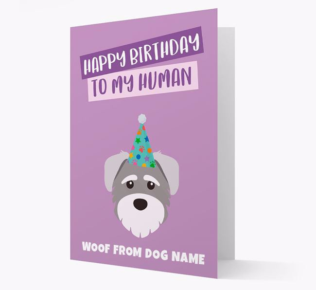 Personalized 'Happy Birthday To My Human' Card with Schnoodle Icon