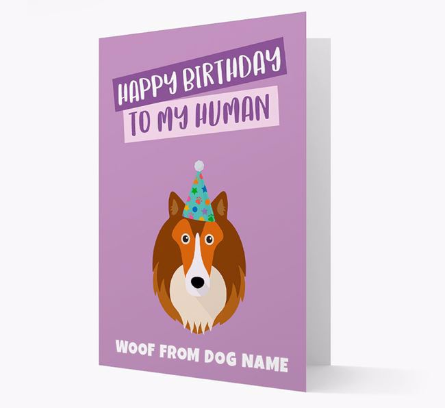 Personalized 'Happy Birthday To My Human' Card with Sheltie Icon