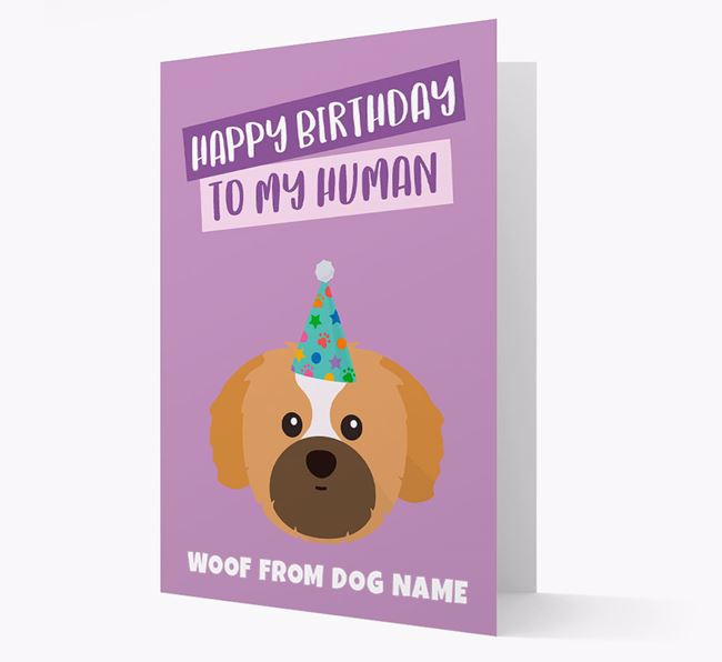 Personalised 'Happy Birthday To My Human' Card with Shih Tzu Icon