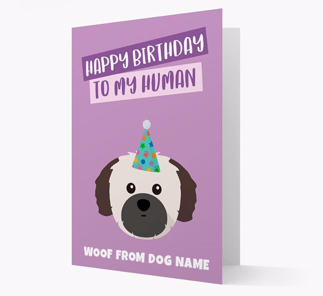 Personalized 'Happy Birthday To My Human' Card with Shih Tzu Icon