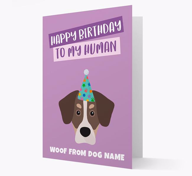 Personalized 'Happy Birthday To My Human' Card with Siberian Cocker Icon