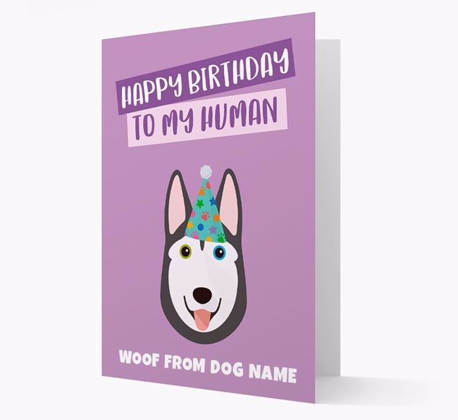 Personalized 'Happy Birthday To My Human' Card with Husky Icon