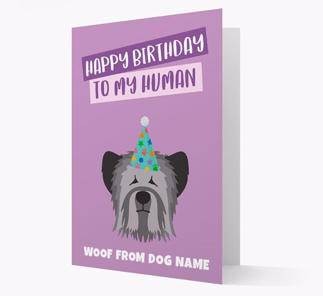 Personalized 'Happy Birthday To My Human' Card with Skye Terrier Icon