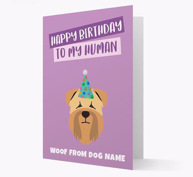 Personalized 'Happy Birthday To My Human' Card with Wheaten Terrier Icon