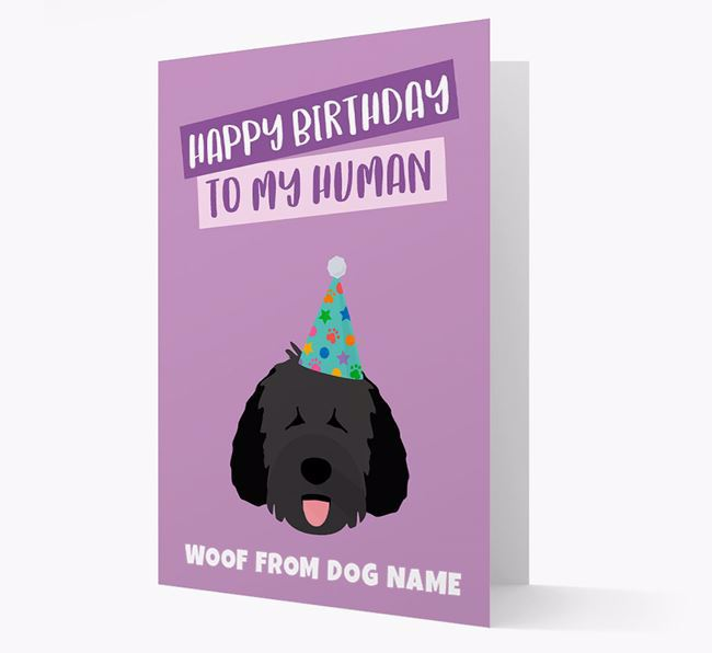 Personalized 'Happy Birthday To My Human' Card with Spanish Water Dog Icon