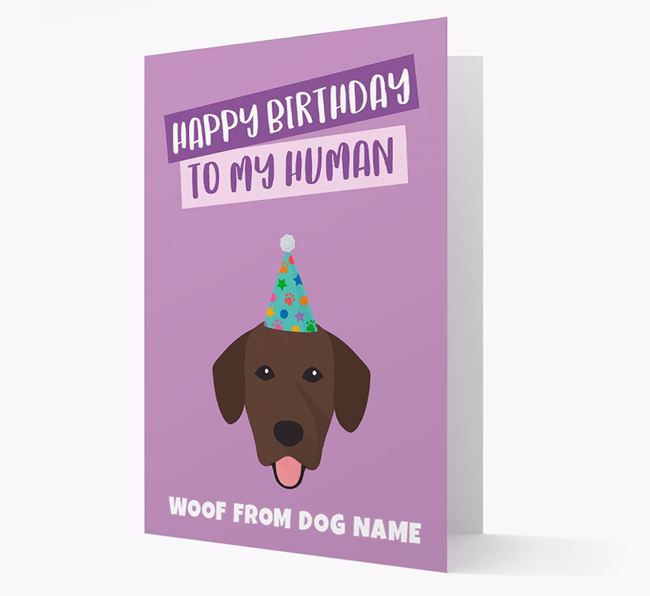 Personalized 'Happy Birthday To My Human' Card with Springador Icon