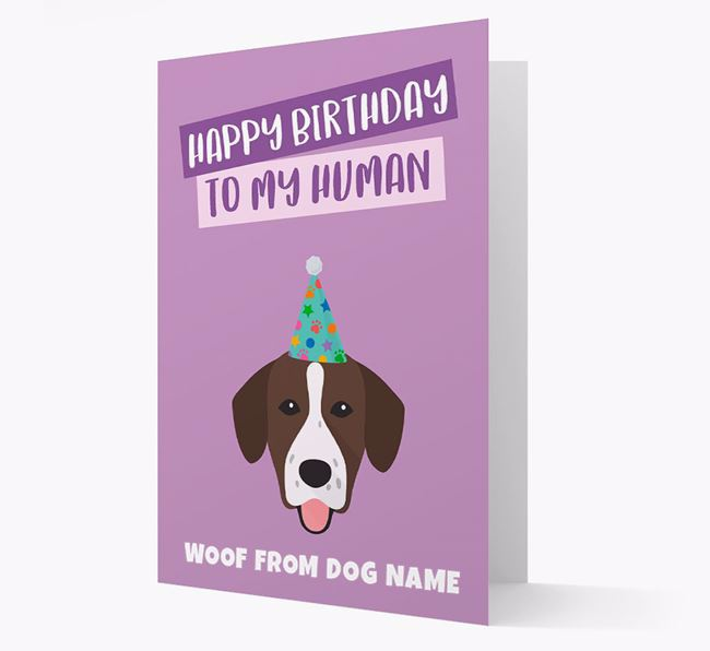 Personalised 'Happy Birthday To My Human' Card with Springador Icon