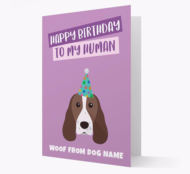 Personalized 'Happy Birthday To My Human' Card with Springer Spaniel Icon