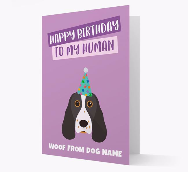 Personalised 'Happy Birthday To My Human' Card with Springer Spaniel Icon