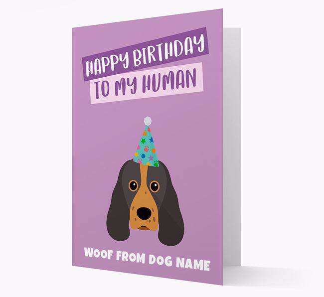 Personalized 'Happy Birthday To My Human' Card with Sprocker Icon