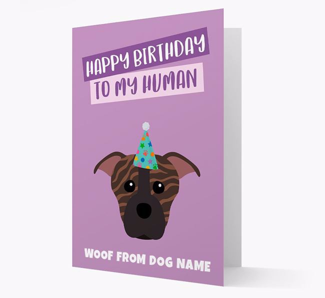 Personalized 'Happy Birthday To My Human' Card with Staffie Icon