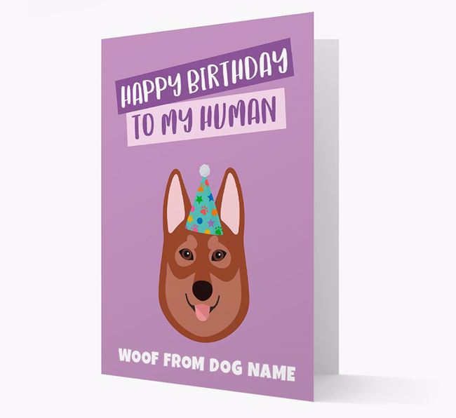 Personalised 'Happy Birthday To My Human' Card with Tamaskan Icon