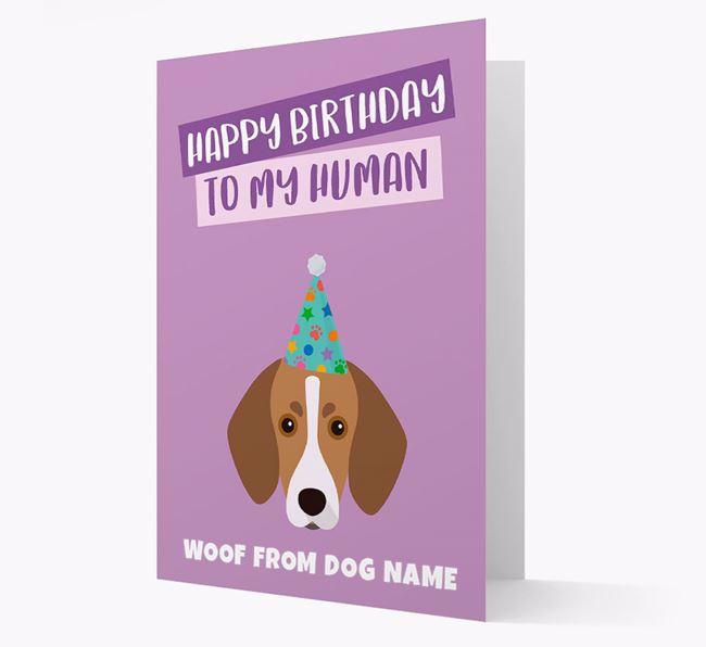 Personalized 'Happy Birthday To My Human' Card with Trailhound Icon