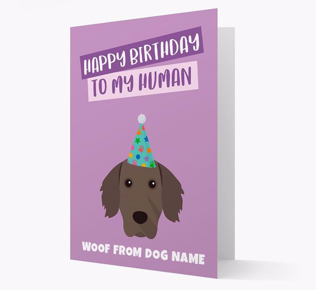 Personalized 'Happy Birthday To My Human' Card with Weimaraner Icon