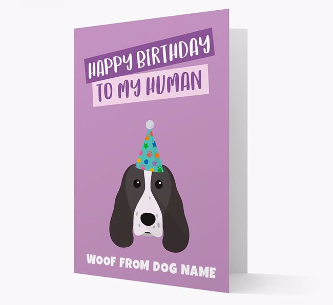 Personalized 'Happy Birthday To My Human' Card with Welsh Springer Icon