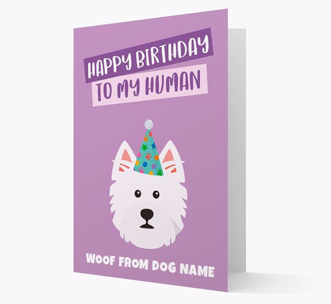 Personalized 'Happy Birthday To My Human' Card with Westie Icon