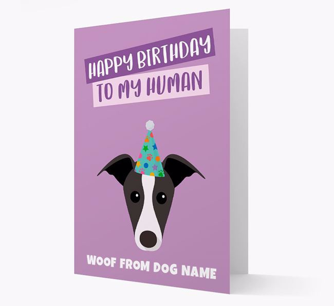 Personalized 'Happy Birthday To My Human' Card with Whippet Icon