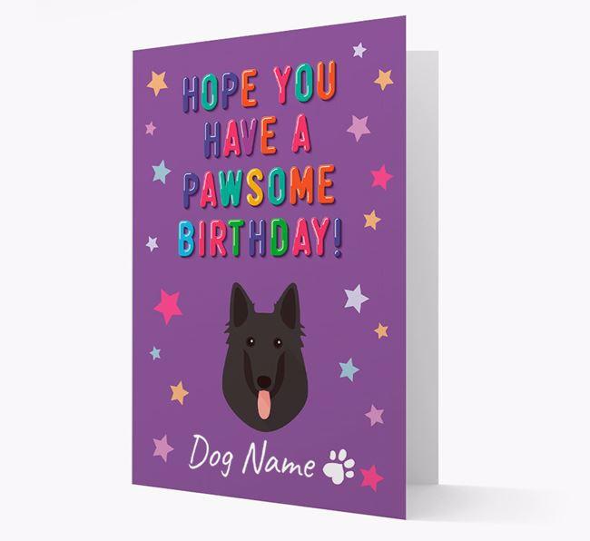 Personalised Card 'Hope You Have A Pawesome Birthday' with Belgian Shepherd Icon