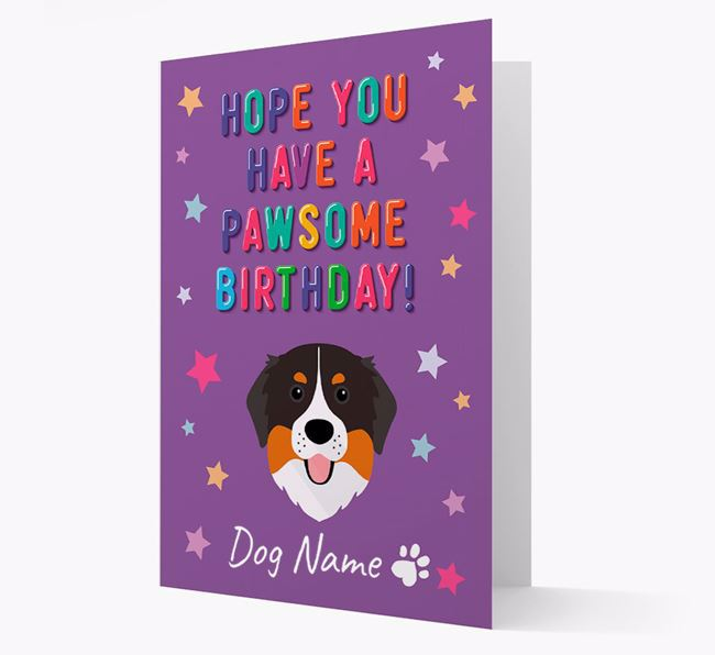 Personalised Card 'Hope You Have A Pawesome Birthday' with Bernese Icon