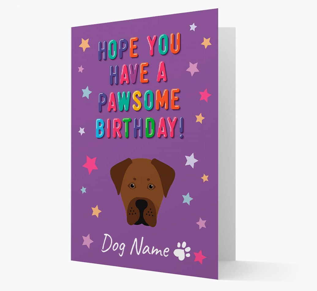 Personalized 'Hope You Have A Pawesome Birthday' Card with Boxador Icon