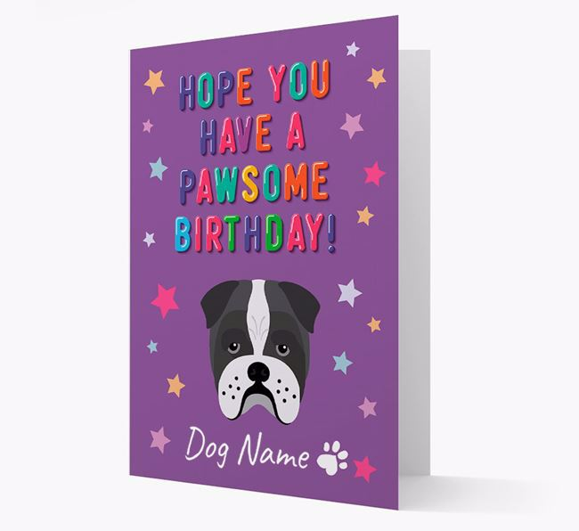Personalised Card 'Hope You Have A Pawesome Birthday' with Bull Pei Icon