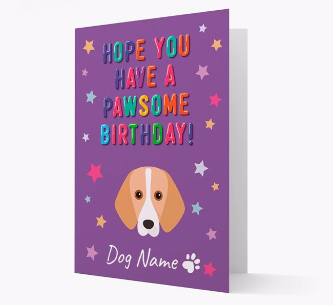 Personalised Card 'Hope You Have A Pawesome Birthday' with Harrier Icon